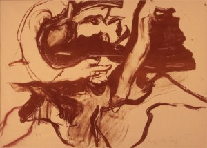 WILLEM DE KOONING (American, 1904-1997). Untitled (Bather I), 1971. Lithograph with pastel marks