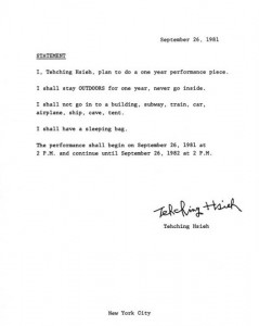 Teching Hseih, Statement, One Year Performance 1981