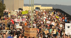 Occupy Oakland protesters, photo by Noah Berger, 2011, Oakland
