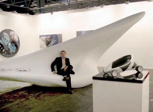 Kenny Schachter with Zaha Hadid's interior unit at the 2006 ARCO fine art fair in Madrid