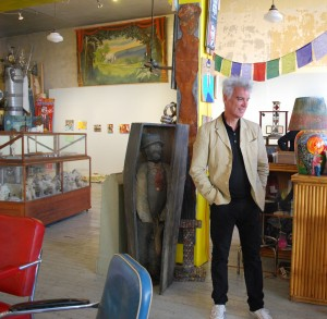 David Byrne, amidst the treasures at Webb Gallery in Waxahachie.  (Photograph by Christina Patoski)