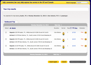 Screen shot from Megabus website showing times/prices for departures from Austin