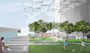 Abu Dhabi media center rendering by Mikyoung Kim