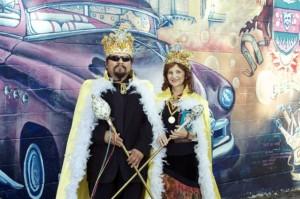 Artist Alex Rubio and poet Carmen Tafolla at SACA's Recent Huevos Rancheros Gala