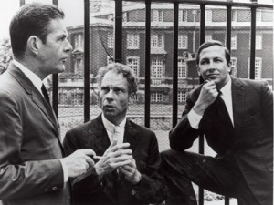 John Cage, Merce Cunningham, and Robert Rauschenberg, London, 1964. Photo: Douglas Jeffreys.
