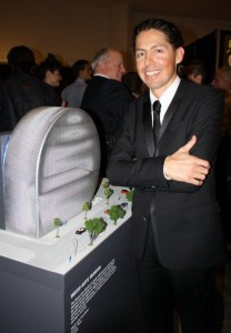 Fernando Romero with Mexic-Arte Museum maquette at the Guggenheim.