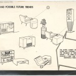 "Possible Future Trends for radio and phonograph cabinet design in Norman Bel Geddes & Co. ""Quarterly Report to R.C.A. Victor Division, Stationary Combinations—Stage 1,"" ca. 1942—44.  Image courtesy of the Edith Lutyens and Norman Bel Geddes Foundation / Harry Ransom Center"