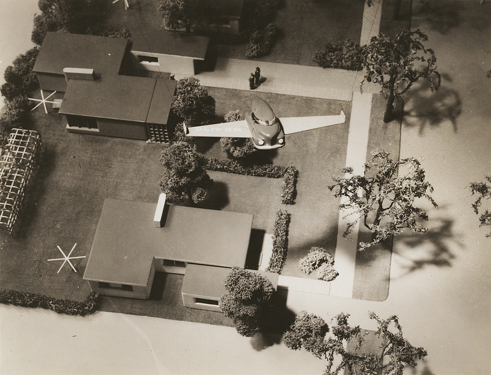 Aerial view of Bel Geddes flying car over model neighborhood, Unidentified photographer, ca. 1945.  Image courtesy of the Edith Lutyens and Norman Bel Geddes Foundation / Harry Ransom Center