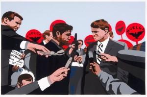 Carlos Francisco Jackson, Huelga, 2009. Screenprint. Collection of the McNay Art Museum, Gift of Harriett and Ricardo Romo.