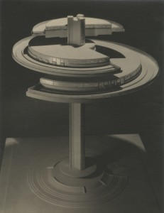 Norman Bel Geddes's model of the Aerial Restaurant, Photograph by Maurice Goldberg, ca. 1930.   Image courtesy of the Edith Lutyens and Norman Bel Geddes Foundation / Harry Ransom Center