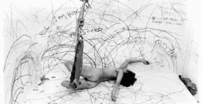 """Sure, we (artists/ladies/somebody's bitches) can do it all if we want to. Remind me again why want to? Carolee Schneeman's """"Up to and Including Her Limits"""" 1973-1976"""