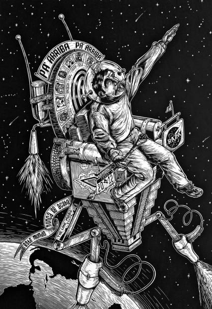 Juan de Dios Mora, Futura Nave Espacial Maya del 2012 (Future Mayan Spaceship of the Year 2012) Linocut, 2011, Print/Image size: 22 in. x 16 in.,Paper size: 30 in. x 22 in.