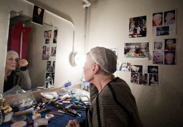 Holland Taylor fixes her eyebrows as she prepares for a play that she wrote and stars in as the former Texas Gov. Ann Richards in San Antonio, Texas