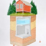 Country Cabin with Cistern and Shelter, gouache, graphite and ink on paper, 15 x 19, 2013