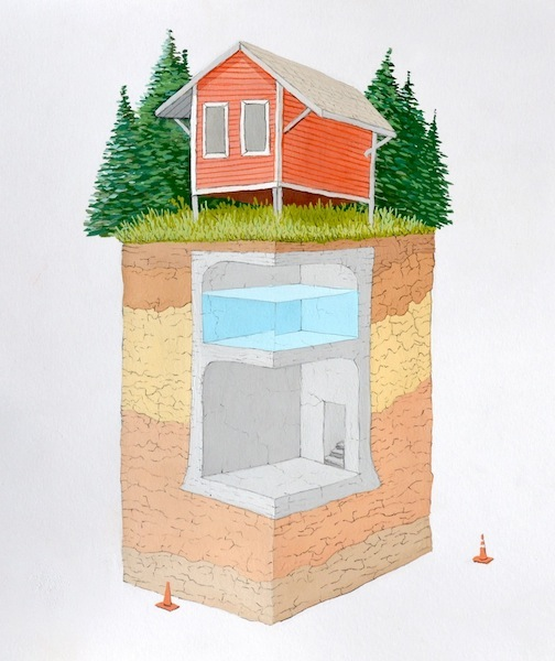 "Country Cabin with Cistern and Shelter, gouache, graphite and ink on paper, 15"" x 19"", 2013"