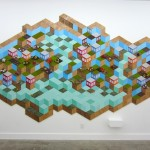 Variable Landscape, plywood, paint, foam, stain, plastic plants, mounted giclee prints, 110 x 192, 2013, installation view