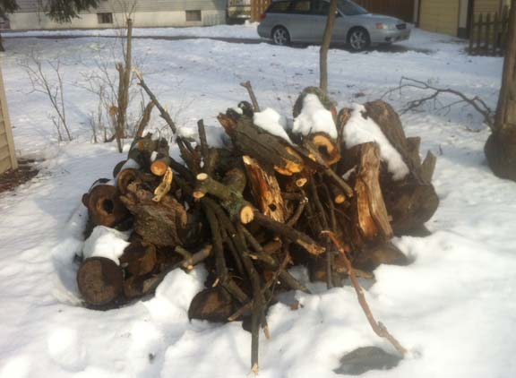 A snowy pile of wood, not quite ready for primetime. 