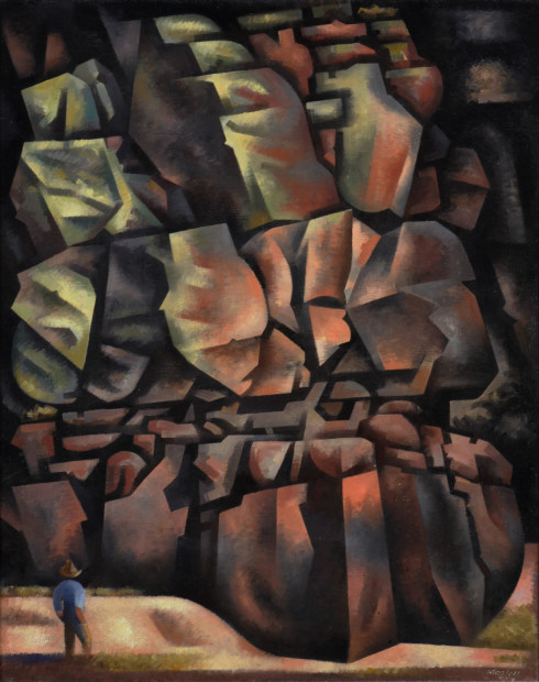 Loren Mozley, Boy Admiring a Cliff, 1948, Oil on canvas,Overall: 30 x 24 in., Private Collection