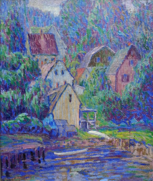 CherryDullDayOnTheCove(Gloucester)1920OonCMountedOnBoard17x14 copy
