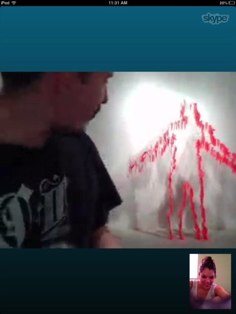 "Skype chatting with the artist, friend number 11, for  ""24 friends in 24 hours"""