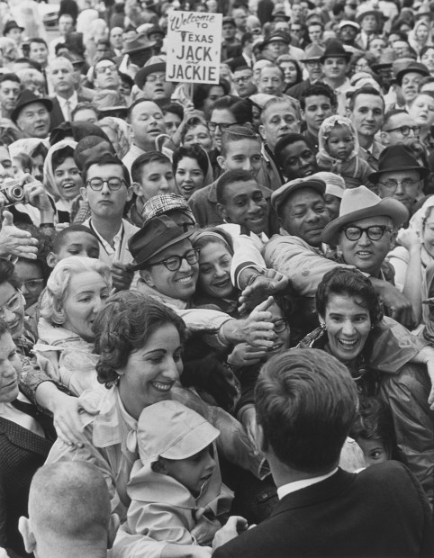 Gene Gordon_John F. Kennedy reaching out to crowd in Fort Worth