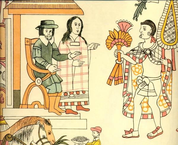 Lienzo de Tlaxcala, 1560: Meeting of Cortés, Malintzin, and Tlaxcalan noble