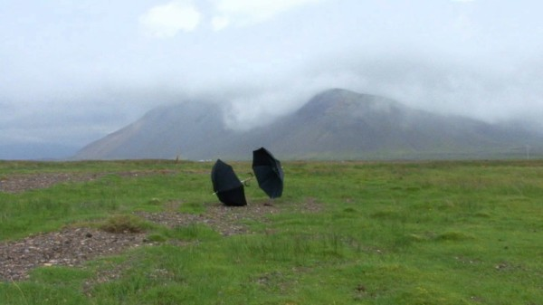 Still from Zwei Schirme (Two Umbrellas, Iceland), 2009 Courtesy artist and Hauser & Wirth, Zurich