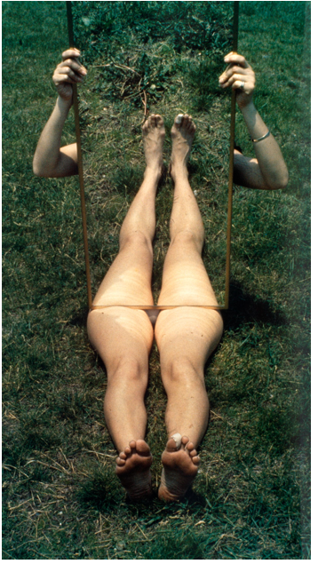 "Joan Jonas, ""Mirror Piece 1,"" 1969, chromogenic print, 101 x 55.6 cm"