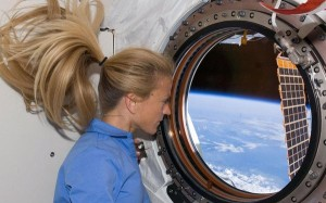 Karen Nyberg in space. Just think what zero gravity would do with a needle and thread. Photo: NASA