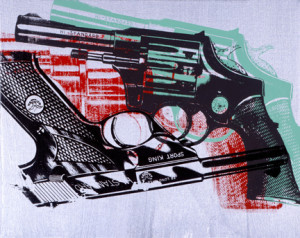 Andy Warhol, Guns, 1981-1982. Acrylic and silkscreen ink on canvas. The Andy Warhol Museum, Pittsburgh Founding Collection. The Andy Warhol Foundation for the Visual Arts Inc.
