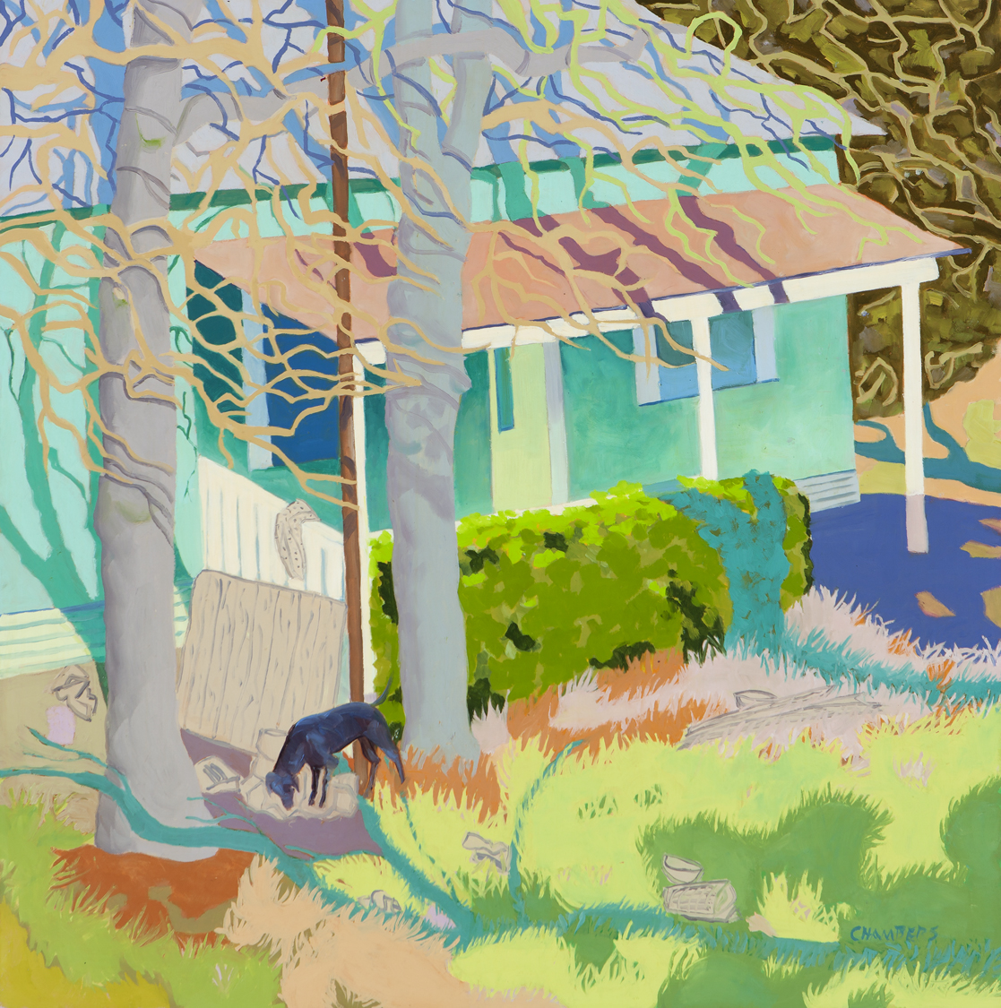 Lindy Chambers  Just another day in paradise, 2012. Oil on gessoboard, 30 x 30 inches