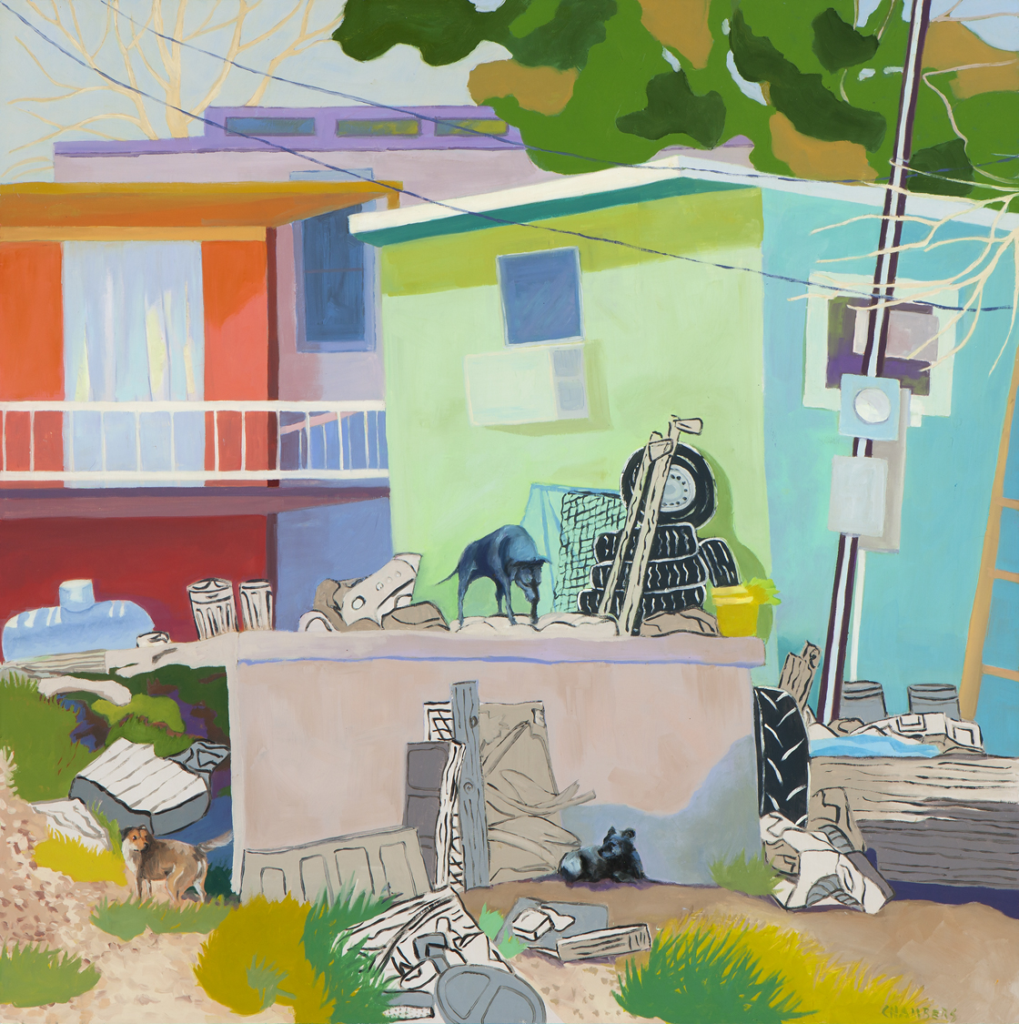 Lindy Chambers, Dogs Rule, 2012. Oil on gessoboard, 30 x 30 inches