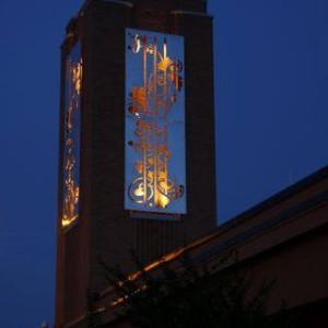 Night shot of Tommy Fitzpatrick's public art project
