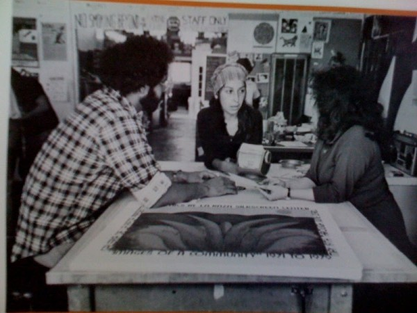 Oscar Melara, Linda Lucero, and Regina Anaya at La Raza Silkscreen Center in San Francisco, 1979. Image courtesy of Linda Lucero.