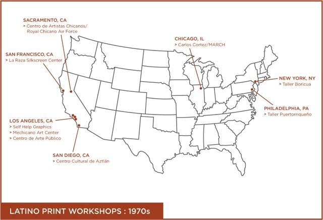"From Tatiana Reinoza, ""Latino Print Cultures in the U.S., 1970-2008"" (Ph.D. dissertation, University of Texas at Austin, in progress). Map designed by Paul del Bosque, 2012."