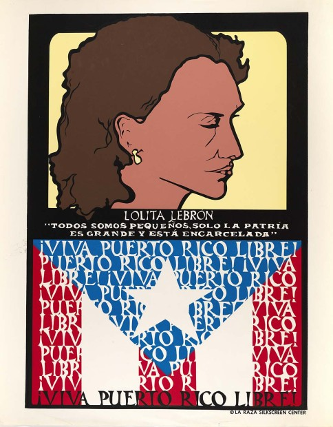 Linda Lucero, Lolita Lebrón, ¡Viva Puerto Rico Libre!, 1975, screenprint, 28 5/8 x 22 5/8 inches. Image courtesy of Linda Lucero.