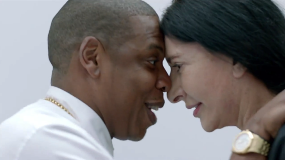 Jay-Z and Marina Abramovic. Photo: Slate.com, from YouTube video