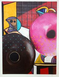 Isabel Cuenca, Menil/Fiesta, 2011, acrylic on canvas. Courtesy the artist