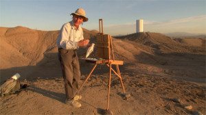 2009 MacArtur fellow Rackstraw Downes in Presidio, Texas. Production still from the Art21 series Exclusive. © Art21, Inc. 2013. Cinematography by Bob Elfstrom.