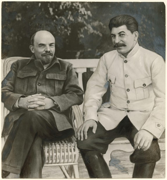Unknown Russian artist, Lenin and Stalin in Gorki in 1922, 1949, gelatin silver print with applied media, Collection of Ryna and David Alexander