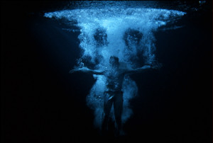 "Bill Viola, Ascension, 2000, Color video projection on wall in dark room, 335 x 251 cm. Photo: Kira Perov. Ascension is the collection of the Museum of Fine Arts Houston, and was exhibited in their 2008 exhibition, ""Color Into Light."""