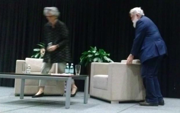 James Turrell cares about space. Upon arriving he immediately rearranges the staged furniture.