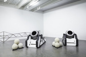 Installation view with 'Pair of Namur Mortars,' 2013. (Photo by Benoit Pailley/New Museum)