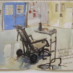 Steve Mumford, 5/16/13, Restraining chair for force feeding, Detainee hospital, Guantanamo Bay, Cuba  2013 ink and wash on paper 13.75 x 18 inches