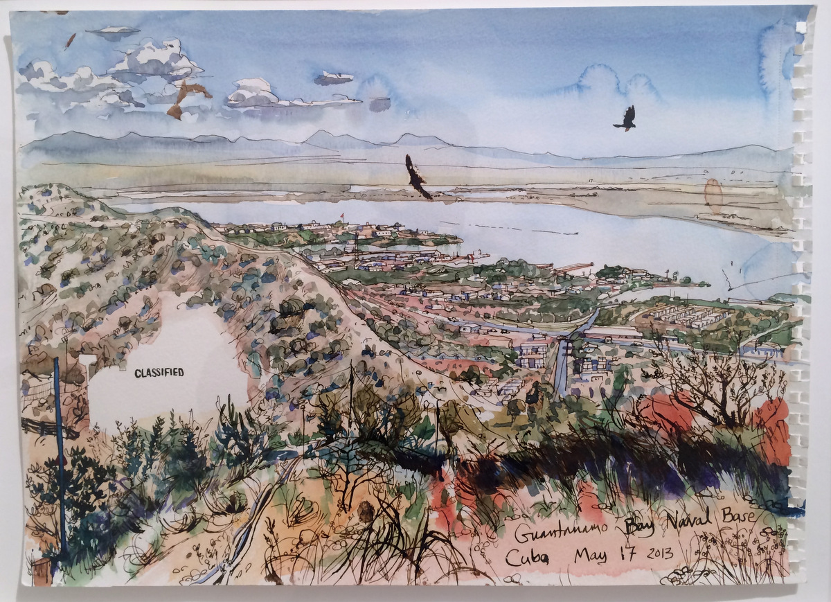 Steve Mumford, 5/17/13, Guantanamo Bay Naval Base, Cuba,2013, ink and wash on paper 13.375 x 18.375 inches