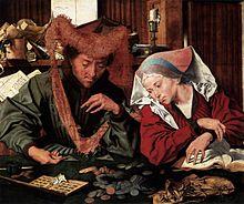 Marinus van Reymerswaele, The moneychanger and his wife (1539), Museo del Prado, Madrid