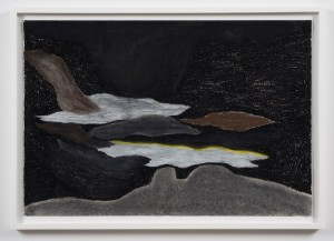 Robyn O'Neil, The Pressure Chorus, 2013.  Oil pastel on paper, 25 x 37 inches