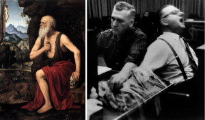 LEFT: Bernardino Luini, The Penitent St Jerome, 1520-25, Museo Poldi Pezzoli, Milan / RIGHT: Still from Stanley Milgram's obedience experiments, 1961