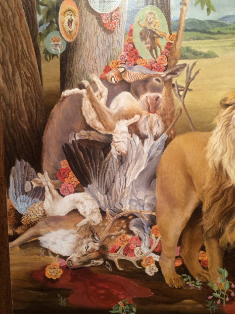 Ellen Tanner, The Lion, The Fox, And The Ass (detail), 2010, oil on panel