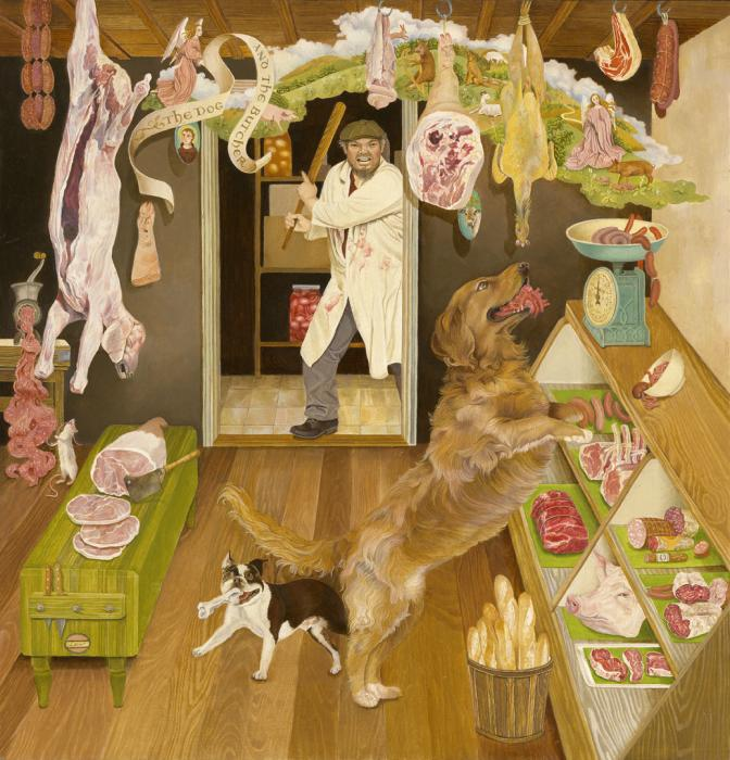 Ellen Tanner, The Dog and The Butcher, 2012, oil on panel, courtesy Moody Gallery